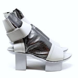 Trippen Steel Gray White Platform Sandals 39 8-8.5